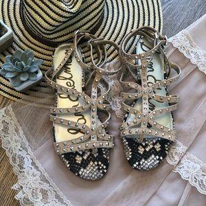 Sam Edelman Strappy Studded Snakeskin Sandals 10